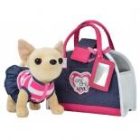 товар для детей Плюшевая собачка Чихуахуа Джинсовый стиль,с сумкой, 20 см