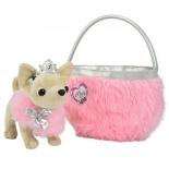 товар для детей Плюшевая собачка Чихуахуа принцесса, с розовой пушистой сумкой, 20 см
