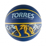 мяч баскетбольный Torres Jam №7, сине-желто-голубой