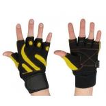 перчатки для фитнеса Starfit SU-121 (размер: XL), черно-желтые