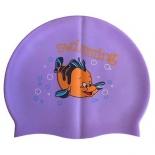 шапочка плавательная RH-С20, фиолетовая с рисунком