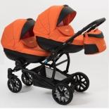 коляска Mr Sandman Duet, 2 в 1, черная перфорированная, оранжевая