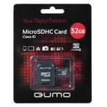 карта памяти Qumo microSDHC 32Gb class 10 + SD-адаптер (QM32MICSDHC10)