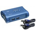 KVM-переключатель TRENDnet TK-207K, на 2 ПК, монитор (D-Sub), клавиатура (USB), мышь (USB) + комплек