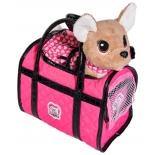 игрушка мягкая Simba Chi chi love Собачка Paris II 20 см (в платье, светящемся в темноте, с сумкой)