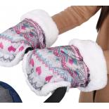 рукавички для коляски Ника Вязаный принт (РС1), розовые