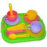 игрушки для девочек Набор Полесье Детская посуда Минутка с подносом на 3 персоны