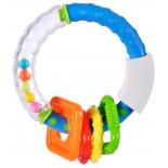 игрушка для малыша Погремушка-прорезыватель Жирафики Звонкое колечко, синее