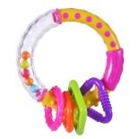игрушка для малыша Погремушка-прорезыватель Жирафики Звонкое колечко, розовое