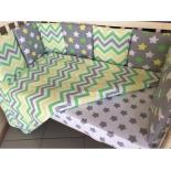 детское постельное белье комплект Подушкино Зигзаги (6 предметов, борта подушками, поплин), салатовый