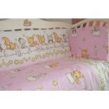аксессуар к детской кроватке бортики Подушкино Зверушки (для детской кровати, бязь, на молнии), розовые