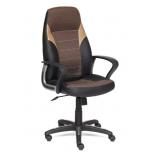 игровое компьютерное кресло TetChair  INTER кож/зам/ткань, 36-6/ЗМ7-147/21,  черный/коричневый/бронзовый