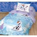 комплект постельного белья Disney ранфорс, 1,5- спальный, нав. 50х70*1, Олаф зима