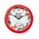 часы интерьерные Вега Цветы и сердца, пластик (настенные)