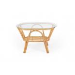 столик журнальный Мебель Импэкс Roma со стеклом, мёд (с полкой)