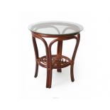 столик журнальный Мебель Импэкс BALI со стеклом, коньяк (с полкой)