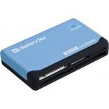 устройство для чтения карт памяти Defender Ultra USB 2.0, 5 слотов, чёрно-голубой
