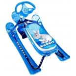 снегокат Ника Детям Кросс с кроликом, синий каркас