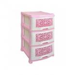комод Violet Орнамент (0353) бело-розовый