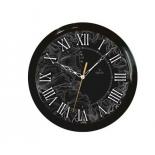 часы интерьерные Вега Черные Римские Тонкий рисунок (П 1-6/6-210) настенные