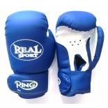 перчатки боксерские Realsport(8 унций) синий