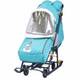 санки-коляска Nika Наши детки 2, голубая с медвежонком