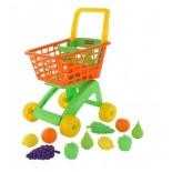 игрушки для девочек Полесье Тележка для маркета + набор продуктов №7 (10 элементов), оранжевая сетка