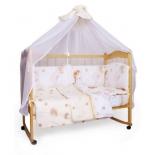 детское постельное белье комплект AmaroBaby Мишкин сон (7 предметов, поплин), бежевый