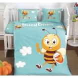 детское постельное белье DO&CO, сатин, пр.100х150 см, нав. 35х45*2, BUSY BEE
