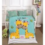 детское постельное белье DO&CO, сатин, пр.100х150 см, нав. 35х45*2, GURAFFE