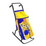 санки-коляска R-Toys Снегурочка 2-Р Тигрёнок yellow-blue