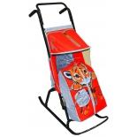 санки-коляска R-Toys Снегурочка 2-Р Тигрёнок gray-red