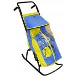 санки-коляска R-Toys Снегурочка 2-Р Собачка yellow-blue