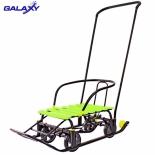 санки-коляска Snow Galaxy Black Auto, лимонные