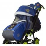 санки-коляска Snow Galaxy City-2-1, зеленый Мишка на синем
