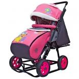 санки-коляска Snow Galaxy City-2-1 Мишка со звездой на розовом