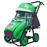 санки-коляска Snow Galaxy City-2-1 совушки на зеленом