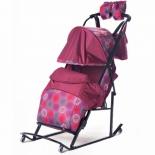 санки-коляска Kristy Comfort Plus 3B + BK, бордо/круги