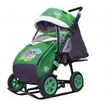 санки-коляска Galaxy City-1-1 Совушки на зелёном (металл)