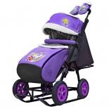 санки-коляска Galaxy City-1-1 Серый Зайка на фиолетовом (металл)