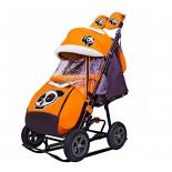 санки-коляска Galaxy City-1-1 Панда на оранжевом (металл)