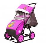 санки-коляска Galaxy City-1-1 Мишка со звездой на розовом (металл)