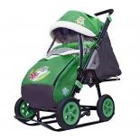 санки-коляска Galaxy City-1-1 Серый Зайка на зелёном (металл)