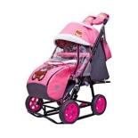 санки-коляска Galaxy City-2 Мишка в красном в очках на розовом