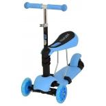 трехколесный самокат EVO Kids M-1  со светящимися колесами,  голубой