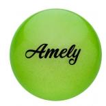 мяч гимнастический Amely AGB-102, 15 см, зеленый, с блестками