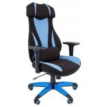 игровое компьютерное кресло Chairman game 14 чёрное/голубое