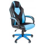 кресло офисное Chairman game 17 экопремиум, черно-голубое, 7024559