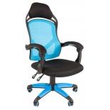 игровое компьютерное кресло Chairman game 12 (7016633) черное/голубое