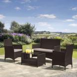 комплект садовой мебели Afina AFM-2025B из искуственного ротанга черный